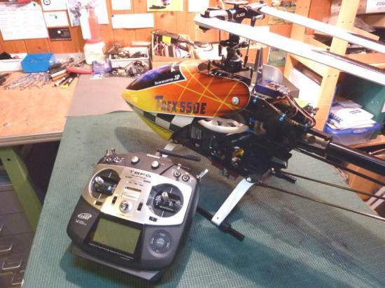 Le TRex 550E dans l'atelier